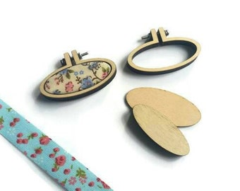 Tiny Embroidery Hoop - W/ Brooch 45mm x 20mm Tiny Hoop - Mini Embroidery Hoop - Tiny Wooden Hoops - DIY kit