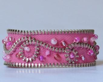 E-1624  Pink beaded upcycled zipper bracelet