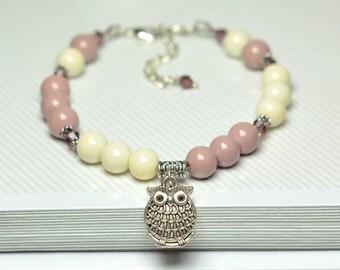 Women's bracelet | Gift for her | Rose brown & beige bracelet