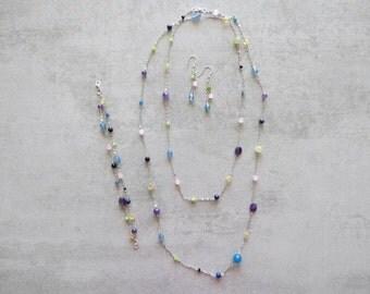 Silver 925 colored gemstone and gemstone jewellery