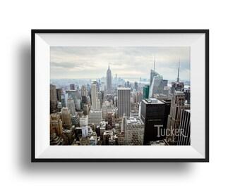 New York City Skyline {view nyc manhattan empire state building downtown travel wall art print photo art photography decor}