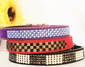 Checker Jeweled Dog Collar