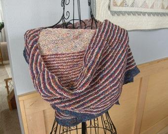 Striped Circular Knitted Shawl