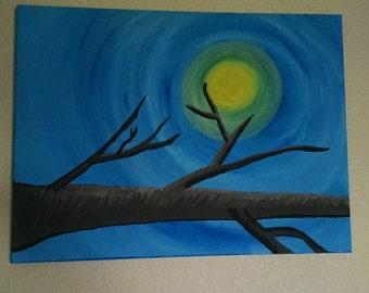 "Art Original Acrylic Painting Canvas Moonlight Painting, 18"" X 24"" ""A Quiet Evening"""