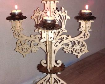 Handmade wooden candlestick
