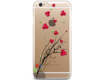 FLORAL iPhone 7 case Clear, iPhone 7 PLUS case clear floral iPhone SE case floral iPhone 6 Plus Case clear iPhone X Case clear T20671