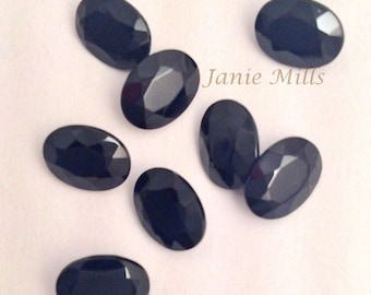 Onyx Black Faceted 6 x 8mm oval gemstone
