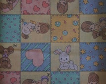 """Almost 2 Yards  Precious Moments Cotton Quilting Fabric 48"""" X 45"""" Angels Boy Girl Bunny Teddy Bear Starts Heart Quilt"""