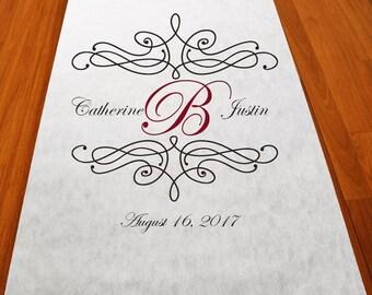 Flourish Monogram Personalized Wedding Aisle Runner (MIC-PFLUAR51)