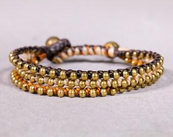 Peach Rust Brown Bracelet, Gold Bracelet, Unisex Bracelet,Beaded Bracelet- B-13