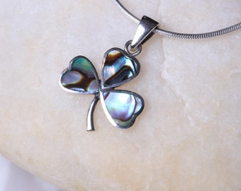Silver And Opal Pendant, Sterling Silver Boho Charm,Silver 3 Leaf Clover Charm,  Minimalist Silver, Necklace, Dainty Charm(P5/1)