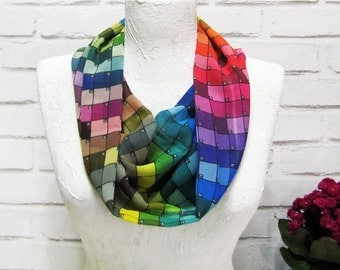 Pantone Designers Spring Modern Infinity Scarf/Voile Fabric Shawl/Gift for Her/Spring,Summer,Fall Accessories