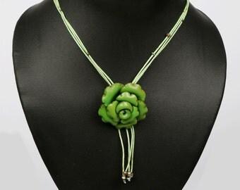 Orange Leather Flower Necklace