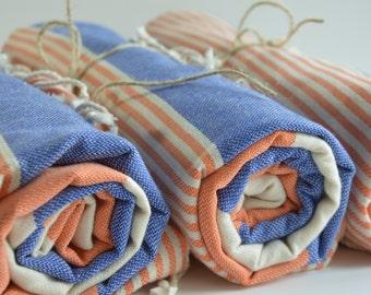 Turkish Towel, Peshtemal Towel,  Beach Towel, Bath Towel, Sauna/Spa/Yoga/Gym/Pool/Park/Picnic, Tablecloth, Stripe, Blue, Orange,  Hammam