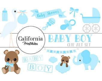 FREE COMMERCIAL USE Baby Shower Clip Art Set - Set of 22 - Baby Shower Clip Art - Baby Shower Vector -  Boy - Instant Download - Scrapbook