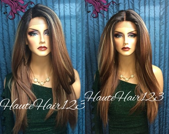 Light Browm with Highlights Ombre Human Hair Blend Lace Front Wig
