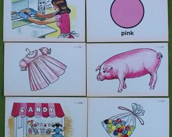 Vintage Pink Scrapbook Ephemera - Vintage Picture flashcards - Family Scrapbook Ephemera - Set of 6 cards
