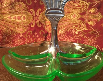Unique Green Vaseline Serving Dish with White Metal Thistle Handle