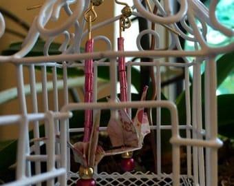 Pink Paper Crane Earrings