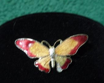Vintage Enameled Butterfly Brooch