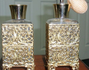Vintage guilded filigree 3 piece vanity set