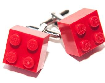 Red Lego Brick Cufflinks Wedding Cuff Link Gift Birthday With Gift Bag
