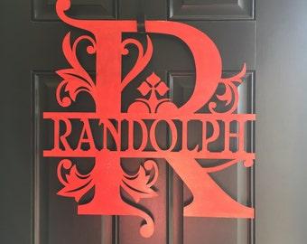 Monogram wood door sign
