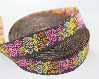35 mm colorful Floral Embroidered ribbon (1.37 inches) -  Vintage Jacquard -Floral ribbon - Sewing trim - Jacquard trim