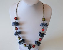 Short necklace handmade from recycled jeans. Christmas necklace