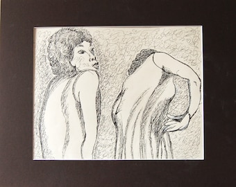 Two Dancers pen & ink drawing by Miao Yeh, 24x18, portrait, portion of proceed supports Parkinson's research.