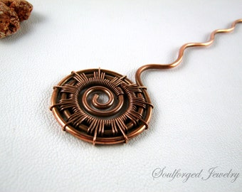 "Copper hair pin - copper wire ""Sun"" hair pin, handcrafted"