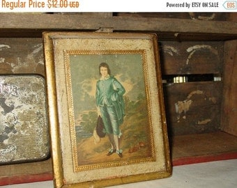 On Sale Italian Florentine Wood Plaque-Boy in Blue