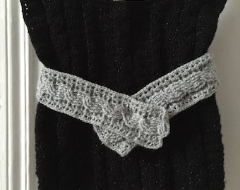 vest and belt in crochet cables