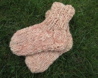 Socks for children, hand spun, plant dyed wool