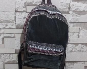 Corduroy Backpack, Bohemian Backpack, Tribal Backpack, Ethnic Backpack, hipster backpack ,School Bag,  Green bag, boho, school backpack