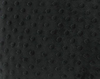 Black Minky Dimple Dot Fabric, Fabric by the Yard, Half Yard, Fat Quarter, Fat Half, Black Minky