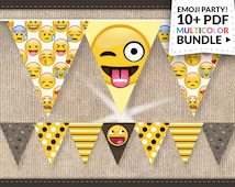 80% Off Sale Emoji Party Supplies Instant Download: BIG Emoticon Smiley Banner Pack Emoji Party Labels, Invitations, Thank You Cards w/Bonus