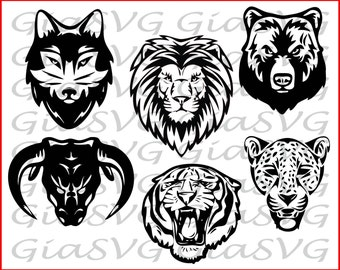 6 Animal Heads SVG, lion, tiger, jaguar, bear, wolf & bull head svg, ready to cut for Cricut - Silhouette etc, also in png, eps, dxf format