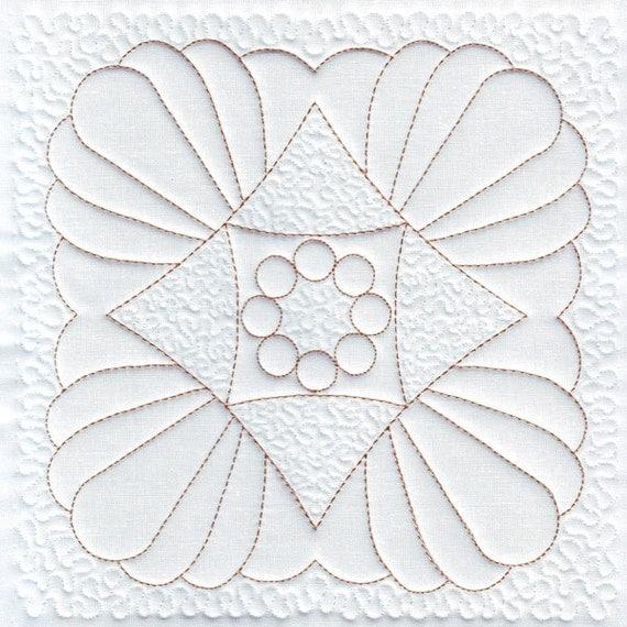 Trapunto machine embroidery design quilt quilting