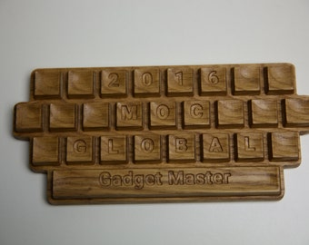 Wooden keyboard with text on keys. Free shipping