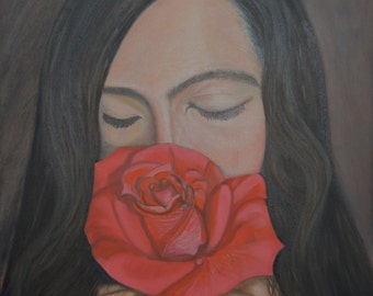 Flower GIrl. Oil painting