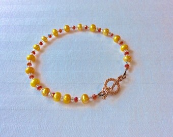 Canary Yellow Pearl and Hyacinth Crystal Bracelet