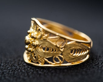 Fine Silver Filigree Ring-Gold Plated Ring