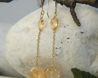 Earrings in golden quartz