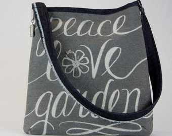 Peace Love Garden Handbag, Garden Handbag, Unique Handbag, Handmade handbag, Peace Handbag, Garden Purse, Hippie Handbag, Hipster