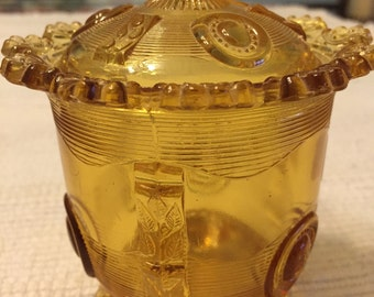 Amber Glass Sugar Bowl