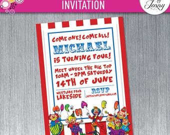 Printable Carnival or Circus birthday invitation - Made to order