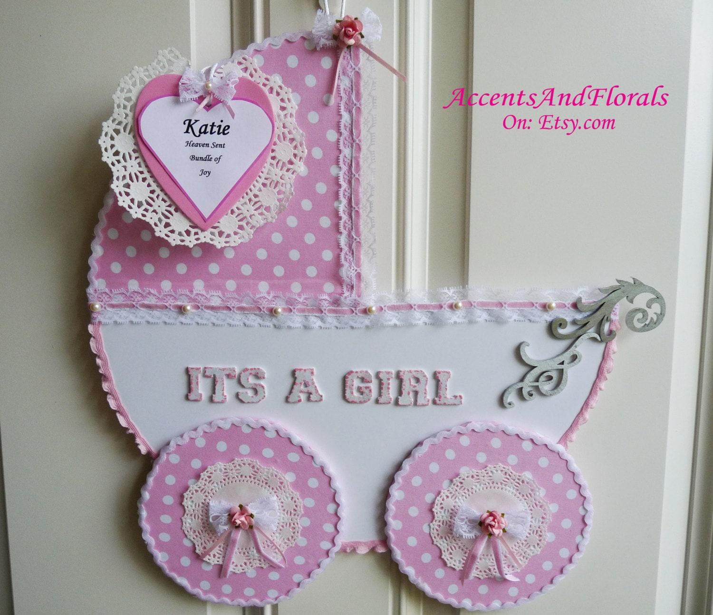 Baby girl door hanger carriage its a