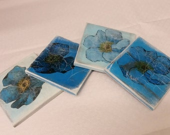Blue Poppies Coasters