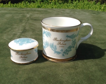 Buckingham palace cup and trinket pot